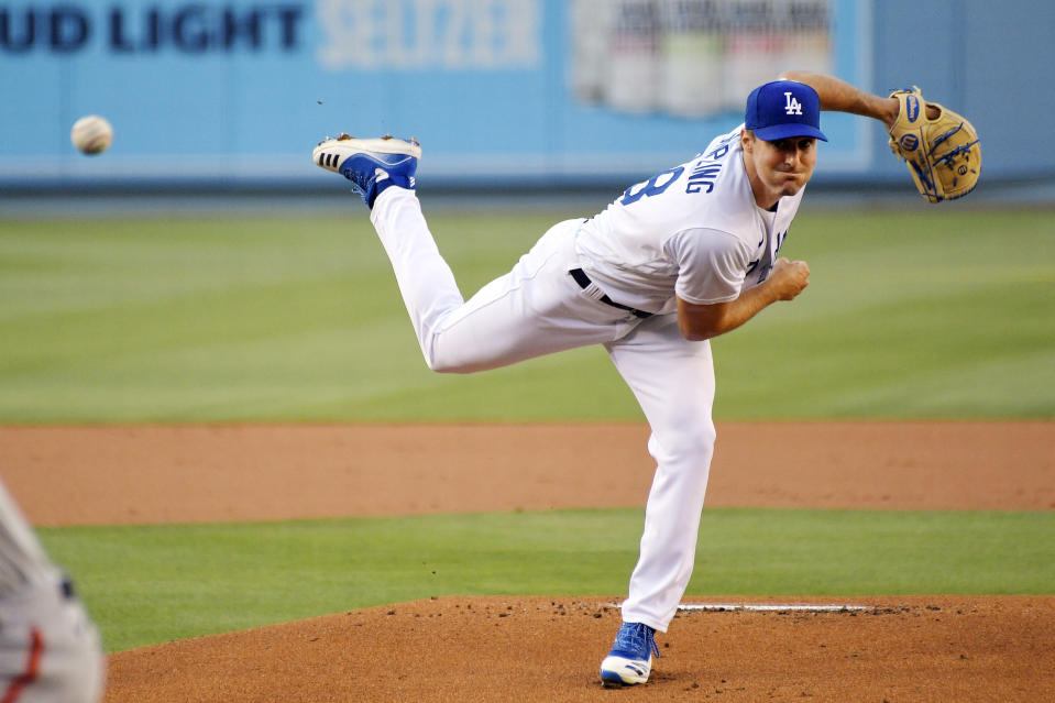 Los Angeles Dodgers starting pitcher Ross Stripling throws to the plate during the first inning of a baseball game against the San Francisco Giants Friday, July 24, 2020, in Los Angeles. (AP Photo/Mark J. Terrill)