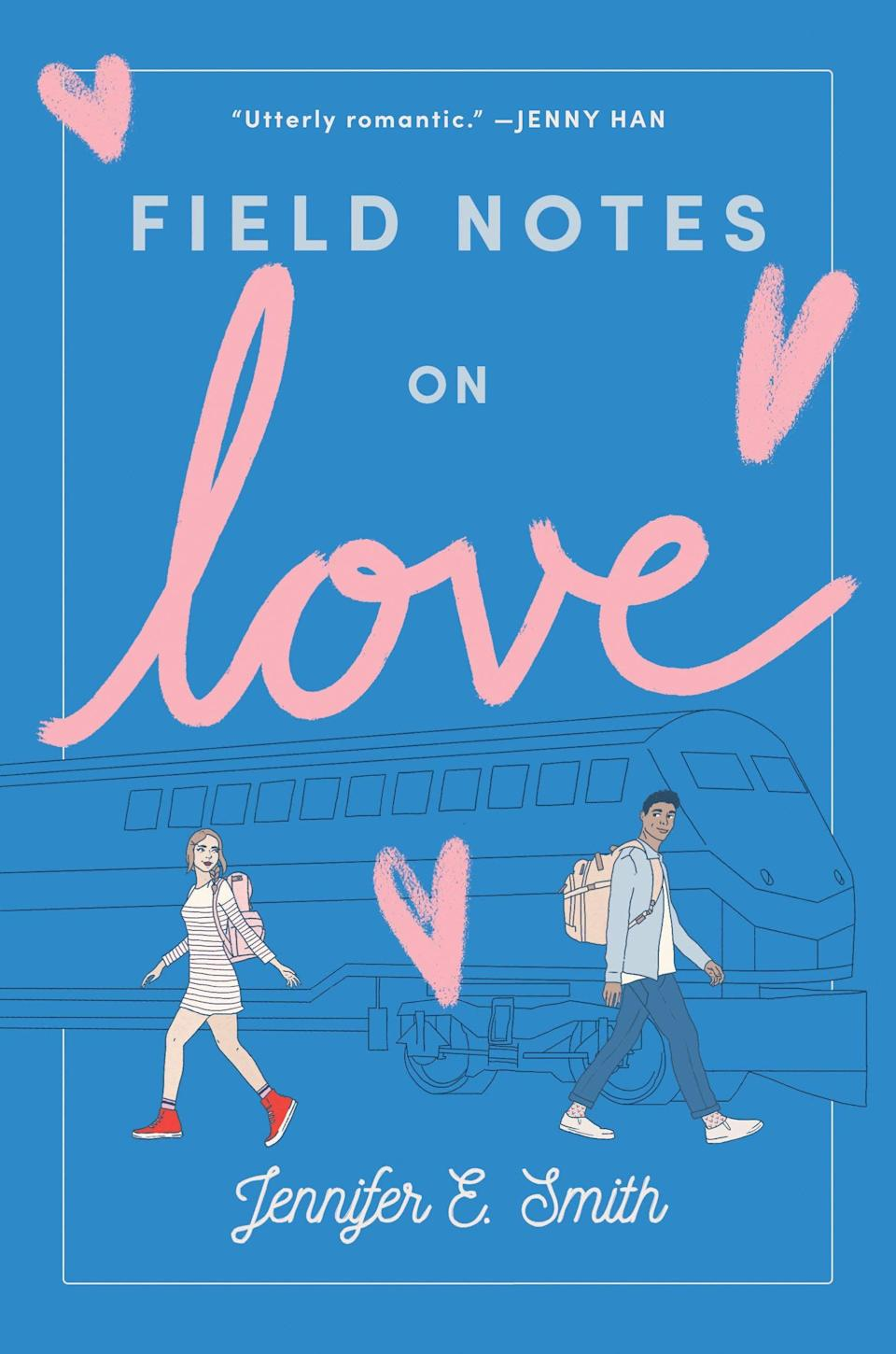 <p><span><strong>Field Notes on Love</strong></span> by Jennifer E. Smith starts with a quirky premise and ends with a sweet romance. After Hugo's girlfriend dumps him, he seeks a replacement to go with him on an already-paid-for train trip across the country. That's when Mae, recently rejected from her dream college, sees his ad and impulsively answers it. What follows is a funny, heartfelt story of two young people who can't run away forever, and who start to realize that maybe they don't want to after all. </p>
