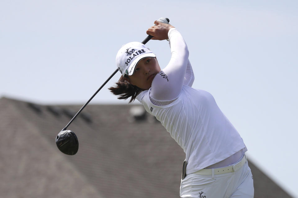 Jin Young Ko hits off the second tee during the third round of the LPGA Volunteers of America Classic golf tournament in The Colony, Texas, Saturday, July 3, 2021. (AP Photo/Richard W. Rodriguez)