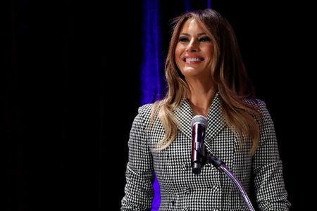 U.S. first lady Melania Trump delivers remarks at a reception with Team USA prior to attending the opening ceremony of the Invictus Games in Toronto, Canada September 23, 2017. REUTERS/Jonathan Ernst