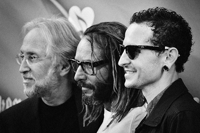 <p>Grammy President Neil Portnow, Tony Alva and Stone Temple Pilots frontman Chester Bennington arrive at the 9th Annual MusiCares MAP Fund Benefit Concert at Club Nokia on May 30, 2013 in Los Angeles, California. (Photo: Jerod Harris/WireImage) </p>