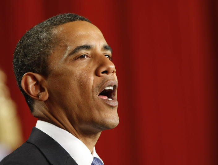 """FILE - In this June 4, 2009, file photo U.S. President Barack Obama speaks at Cairo University, where he called for a """"new beginning between the United States and Muslims"""", and declared that """"this cycle of suspicion and discord must end"""". Nearly five years into his presidency, U.S. influence is declining in the Middle East as violence and instability rock Arab countries. While the U.S. has consistently backed the rights of people seeking democracy, the violence that followed has often left the Obama administration unsure of its next move or taking tentative steps that do little to change the situation on the ground. (AP Photo/Gerald Herbert, File)"""