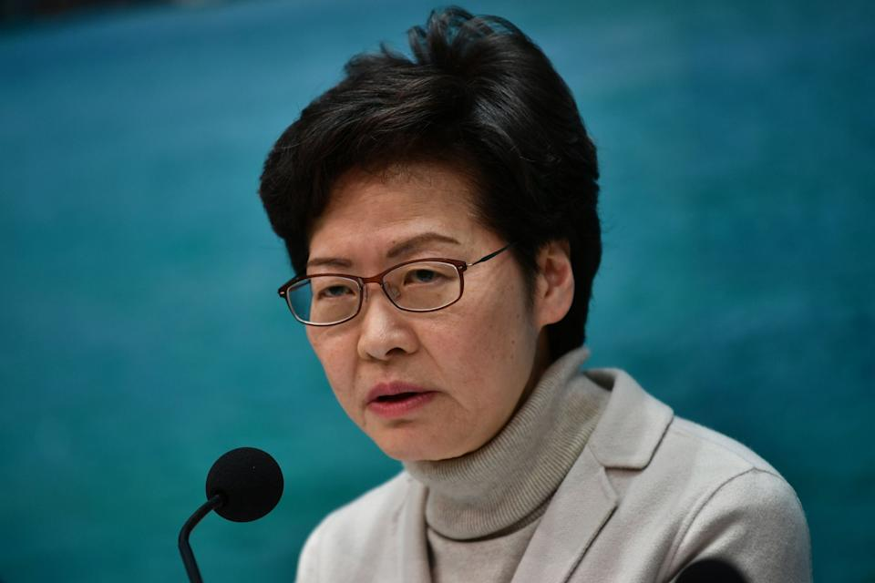 Hong Kong's Chief Executive Carrie Lam speaks during a press conference in Hong Kong: AFP via Getty Images
