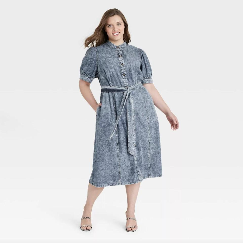 <p>Acid-washed denim gets a fresh update in this A-line <span>Who What Wear Puff Short Sleeve Dress</span> ($34, originally $40) we'd pair with slides.</p>