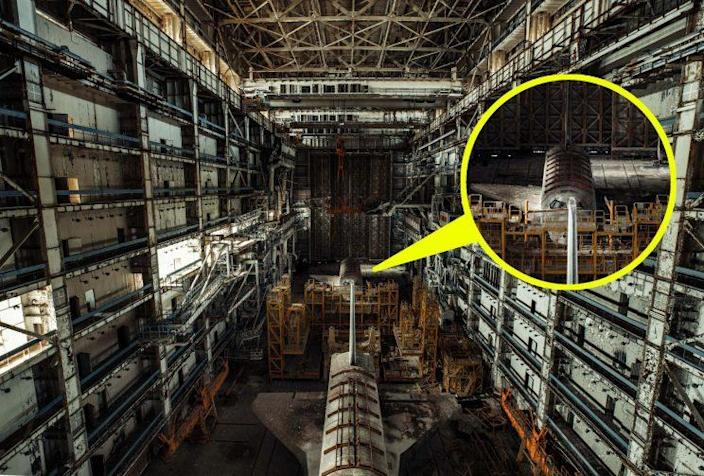 <em>Abandoned – Alexander found the two test shuttles inside an abandoned complex in Kazakhstan (Pictures: SWNS)</em>