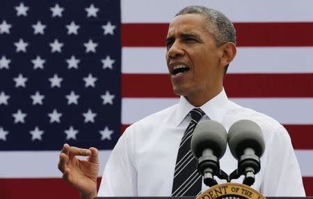 U.S. President Obama talks about the economy at the Turner-Fairbank Highway Research Center in McLean, Virginia