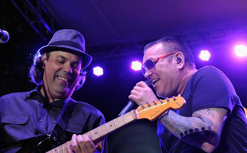 Guitarist Sam Eigen and singer Steve Harwell of Smash Mouth perform at The Park at The Grove on July 20, 2016 in Los Angeles, California. (Photo by Michael Tullberg/Getty Images)