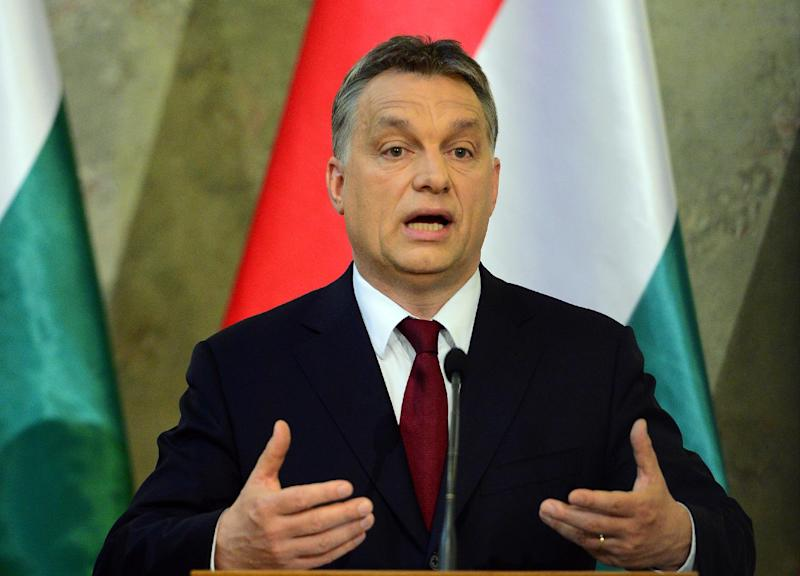 "Hungarian Prime Minister Viktor Orban (pictured on April 7, 2014) said the Internet tax law needed to be amended, and that a ""national consultation"" on the Internet and taxes would be organised in January (AFP Photo/Attila Kisbenedek)"