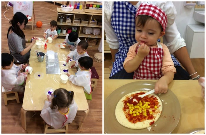 parents lead art classes and teach kids how to make pizza at leclare preschool