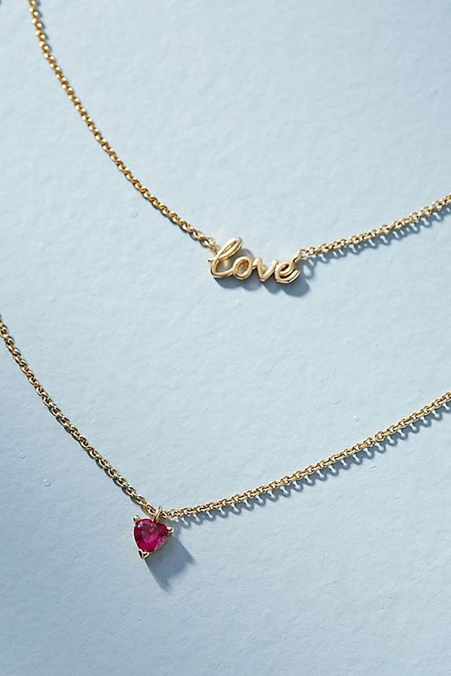 """<p><em>$48</em></p><p><a rel=""""nofollow"""" href=""""https://www.anthropologie.com/shop/first-love-layered-necklace"""">SHOP NOW</a></p><p>Remind mom how much you love her with this dainty, layered necklace. </p>"""