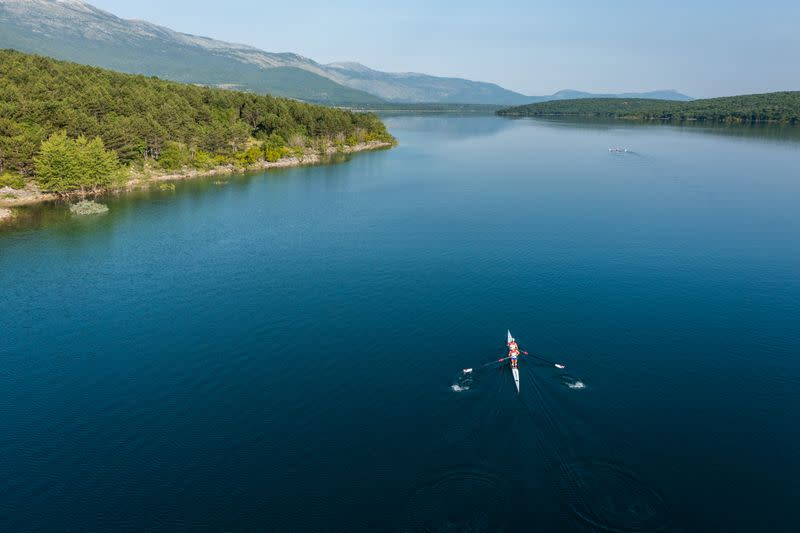 Croatia rowers Martin Sinkovic and Valent Sinkovic are seen during rowing practice at Peruca Lake for the Tokyo 2020 Olympics near Sinj