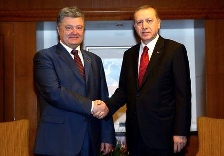 Turkey's President Tayyip Erdogan (R) meets with his Ukrainian counterpart Petro Poroshenko during the NATO Summit in Warsaw, Poland, July 8, 2016. Kayhan Ozer/Turkey Presidential Palace/Handout via REUTERS