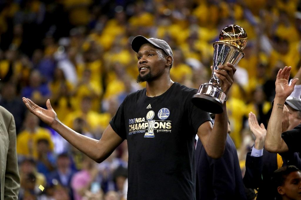 Kevin Durant of the Golden State Warriors will meet prospects at the NBA Academy India (AFP Photo/EZRA SHAW)