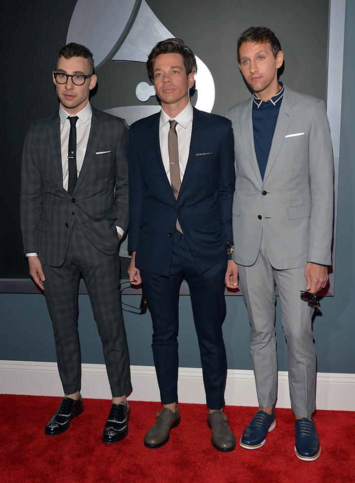 Jack Antonoff, Nate Ruess, and Andrew Dost of Fun. arrive at the 55th Annual Grammy Awards at the Staples Center in Los Angeles, CA on February 10, 2013.