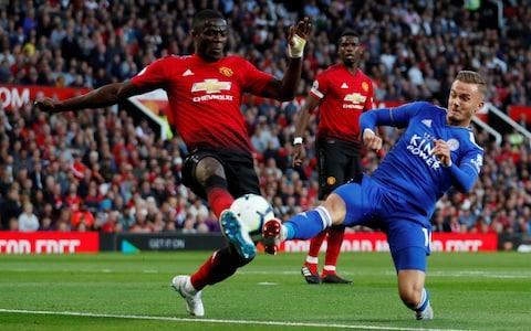 """Soccer Football - Premier League - Manchester United v Leicester City - Old Trafford, Manchester, Britain - August 10, 2018 Manchester United's Eric Bailly in action with Leicester City's James Maddison Action Images via Reuters/Andrew Boyers EDITORIAL USE ONLY. No use with unauthorized audio, video, data, fixture lists, club/league logos or """"live"""" services. Online in-match use limited to 75 images, no video emulation. No use in betting, games or single club/league/player publications. Please contact your account representative for further detail - Credit: Action Images"""