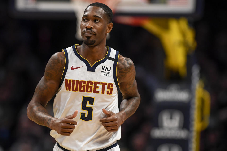 Will Barton runs back on defense during a Nuggets game.