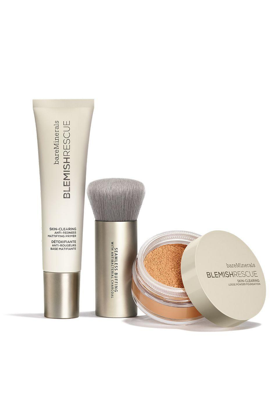"""<p>This primer and foundation by BareMinerals treats skin while you wear them using complexion-clearing ingredients like zinc, sulfur, kaolin clay, and salicylic acid. And, because<em> no one </em>cleans their brushes after every single use, the buffing brush repels bacteria so you won't be spreading acne-causing grime all over your face.<br></p><p>BareMinerals Blemish Rescue Anti-Redness Mattifying Primer, $26, <a href=""""https://www.bareminerals.com/face-makeup/face-primer/blemish-rescue%E2%84%A2-anti-redness-mattifying-primer/US86552.html"""" rel=""""nofollow noopener"""" target=""""_blank"""" data-ylk=""""slk:bareminerals.com"""" class=""""link rapid-noclick-resp"""">bareminerals.com</a>; BareMinerals Blemish Rescue Skin-Clearing Loose Powder Foundation, $29, <a href=""""https://www.bareminerals.com/face-makeup/foundation/blemish-rescue-skin-clearing-loose-powder-foundation/USmasterblemishrescuefound.html?dwvar_USmasterblemishrescuefound_SkinShade=MEDIUM%203C"""" rel=""""nofollow noopener"""" target=""""_blank"""" data-ylk=""""slk:bareminerals.com"""" class=""""link rapid-noclick-resp"""">bareminerals.com</a>; BareMinerals Seamless Buffing Brush with Anti-Bacterial Charcoal, $28, <a href=""""https://www.bareminerals.com/brushes/face_brushes/seamless-buffing-brush-with-antibacterial-charcoal/US86654.html"""" rel=""""nofollow noopener"""" target=""""_blank"""" data-ylk=""""slk:bareminerals.com"""" class=""""link rapid-noclick-resp"""">bareminerals.com</a>.</p>"""