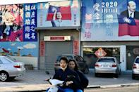 Some Kinmen streets are adorned with posters from the presidential election last January