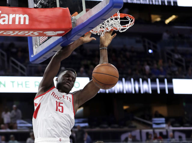 """<a class=""""link rapid-noclick-resp"""" href=""""/nba/teams/houston/"""" data-ylk=""""slk:Houston Rockets"""">Houston Rockets</a> center <a class=""""link rapid-noclick-resp"""" href=""""/nba/players/5336/"""" data-ylk=""""slk:Clint Capela"""">Clint Capela</a> throws down a dunk in the first half of Sunday's loss to the <a class=""""link rapid-noclick-resp"""" href=""""/nba/teams/orlando/"""" data-ylk=""""slk:Orlando Magic"""">Orlando Magic</a>. (AP)Roc"""