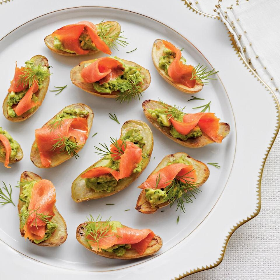 """<p>Potato halves serve as the base of savory Fingerling Potatoes with Avocado and Smoked Salmon appetizers.</p> <p><a href=""""https://www.myrecipes.com/recipe/fingerling-potatoes-avocado-salmon"""">Fingerling Potatoes with Avocado and Smoked Salmon Recipe</a></p>"""