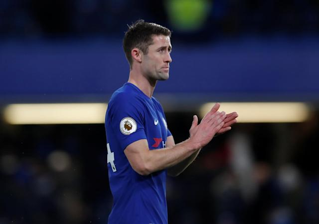 "Soccer Football - Premier League - Chelsea vs West Bromwich Albion - Stamford Bridge, London, Britain - February 12, 2018 Chelsea's Gary Cahill celebrates after the match Action Images via Reuters/Andrew Couldridge EDITORIAL USE ONLY. No use with unauthorized audio, video, data, fixture lists, club/league logos or ""live"" services. Online in-match use limited to 75 images, no video emulation. No use in betting, games or single club/league/player publications. Please contact your account representative for further details."