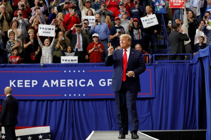 President Donald Trump holds a campaign rally in Lexington, Kentucky