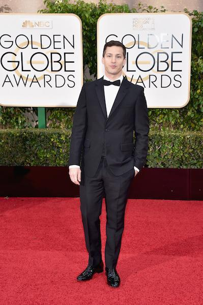 Andy Samberg in a classic tux at the 73rd Golden Globe Awards.