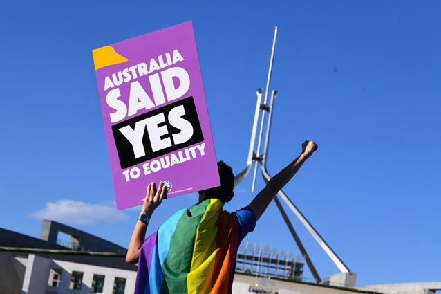 Marriage-equality supporters flocked to Canberra to see the bill's passage through the parliament. Source: AAP