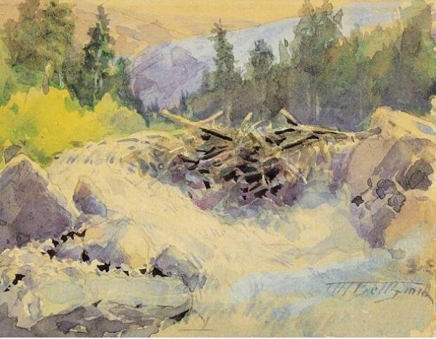 This watercolour painting by F.M. Bell-Smith is titled Glacier Cascade, Selkirks. The Whyte Museum says Bell-Smith was one of the first artists invited by CPR president Cornelius Van Horne to Banff to paint the Rocky Mountains and thus promote travel on the new railway.