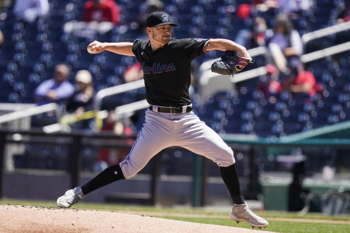 Miami Marlins starting pitcher Paul Campbell throws during the first inning of a baseball game against the Washington Nationals at Nationals Park, Saturday, May 1, 2021, in Washington. (AP Photo/Alex Brandon)