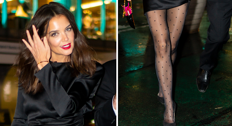 Katie Holmes is bringing back the patterned tights trend. [Photo: Getty]