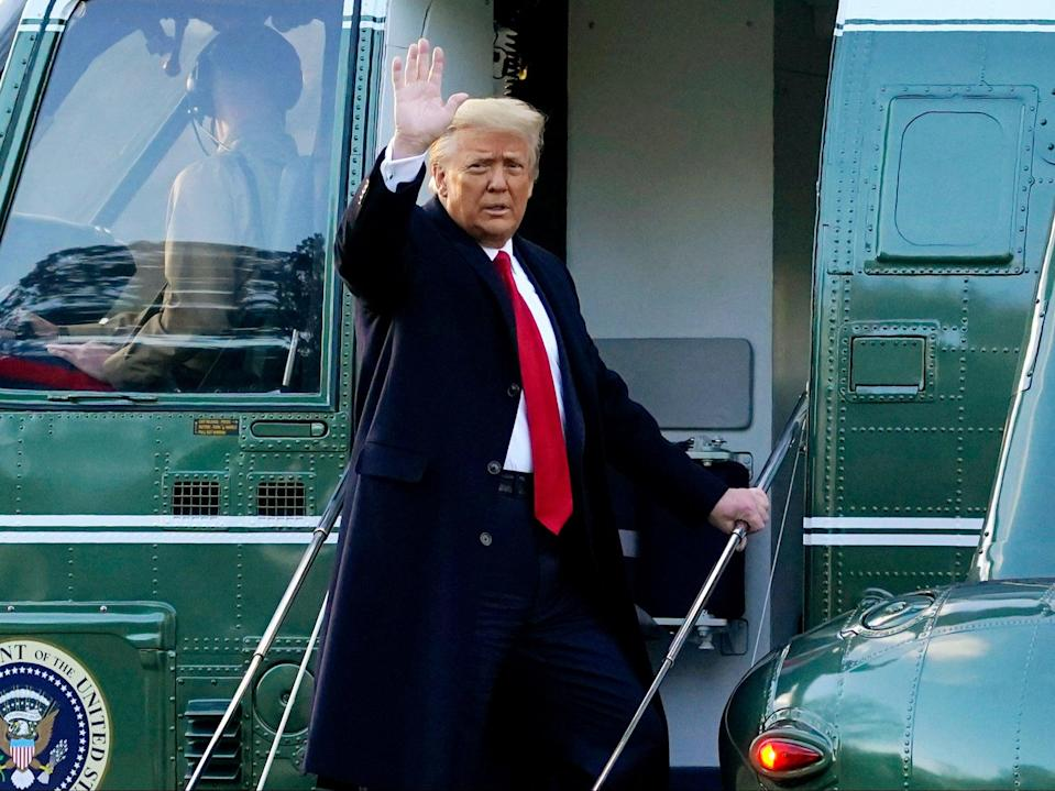 Donald Trump waves as he boards Marine One on the South Lawn of the White House, in Washington, DC, ((Associated Press))