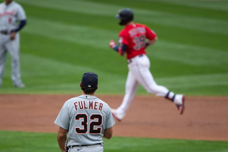 Tigers pitcher Michael Fulmer gives up a home run to Twins catcher Ryan Jeffers in the third inning on Monday, Sept. 7, 2020, in Minneapolis.
