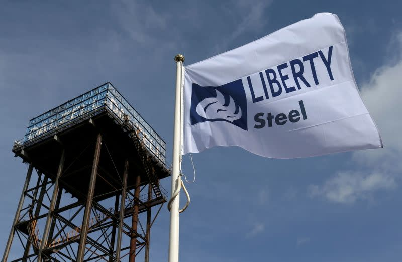FILE PHOTO: The Liberty Steel flag flies over the steel plant in Dalzell, Scotland
