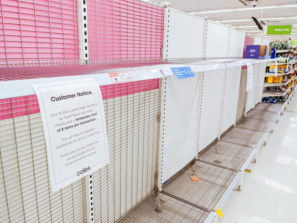 A photo of empty shelves in the toilet paper aisle at a Coles supermarket in Melbourne on May 27, 2021, after the Victorian State Government announced a 'circuit breaker' lockdown for 7 days due to the rises in cases of Coronavirus or COVID-19.