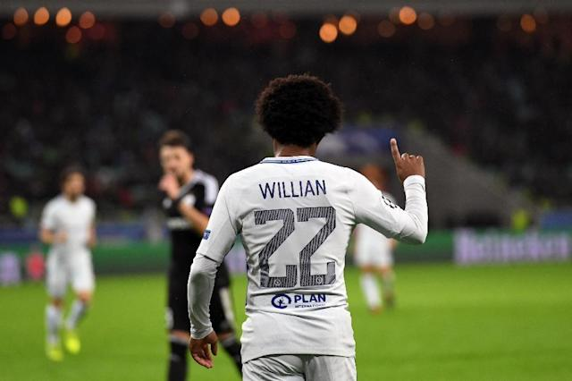Chelsea's Willian scored two goals in the Champions League victory over Qarabag in Baku, on November 22, 2017 (AFP Photo/Kirill KUDRYAVTSEV)