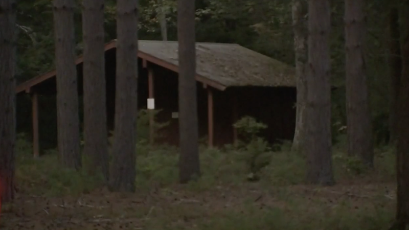 Pictured is a cabin among trees at the campsite in far northern New Hampshire. Source: WHDH