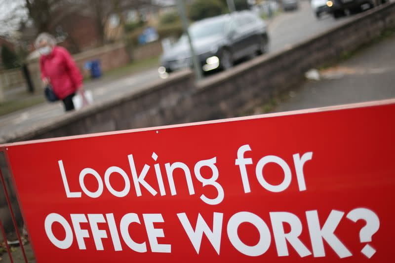 A sign is seen outside a recruitment office in Stoke-on-Trent