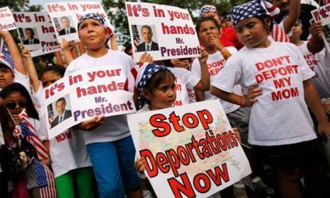 First-generation American children rally on behalf of their undocumented parents in D.C. in July 2010: Obama will talk up immigration reform once again on Tuesday.