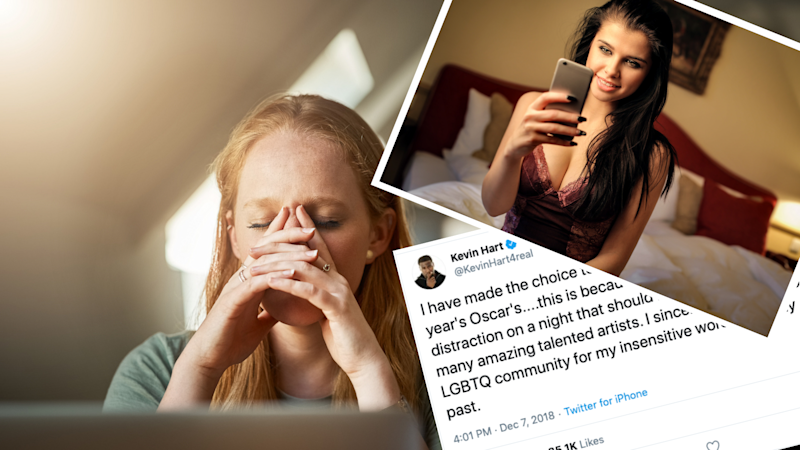 Pictured: Woman with social media regret, Kevin Hart Oscar's tweet and woman in lingerie. Images: Getty, Twitter