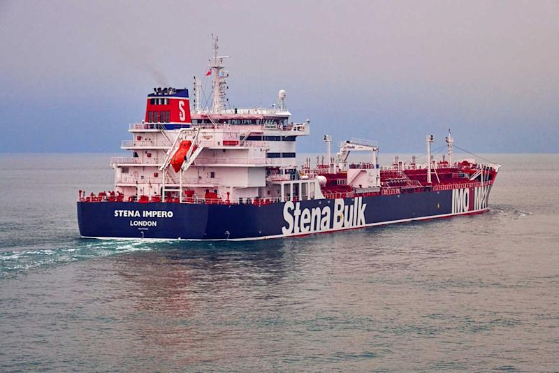 REFILE - ADDING RESTRICTIONS Undatedhandout photograph shows theStenaImpero, a British-flagged vessel owned byStenaBulk, at anundisclosedlocation, obtained by Reuters on July 19, 2019. Stena Bulk/via REUTERS ATTENTION EDITORS - THIS IMAGE WAS PROVIDED BY A THIRD PARTY. MANDATORY CREDIT.