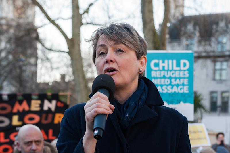 Labour MP Yvette Cooper takes part in a rally in Parliament Square, organised by Safe Passage charity, urging the peers in the House of Lords to back Lord Dubs Amendment to the EU Withdrawal Bill, which allows for unaccompanied refugee children to be reunited with their relatives in Britain on 20 January, 2020 in London, England. Last week MPs in the Commons rejected proposals, previously accepted by Theresa Mays government, to keep protections for child refugees in the redrafted EU Withdrawal Agreement Bill. (Photo by WIktor Szymanowicz/NurPhoto via Getty Images)