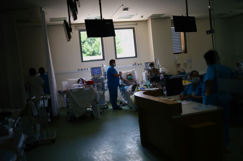 Patients receive dialysis at the Lebanese Hospital Geitaoui in Beirut