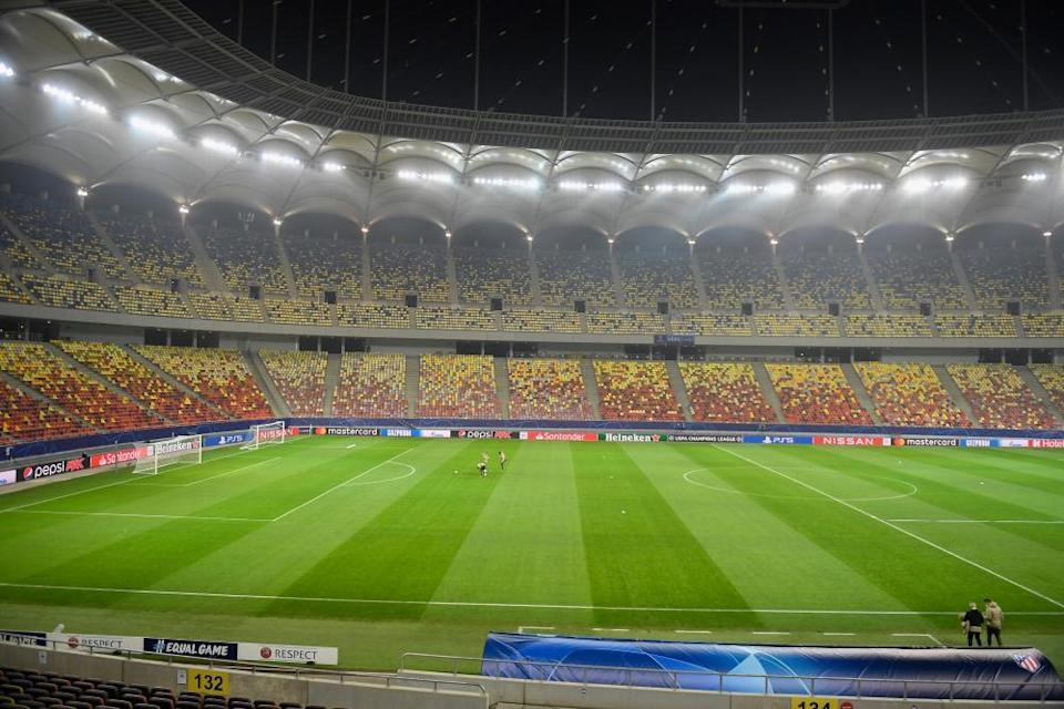 Under the floodlights at the National Arena, Bucharest.
