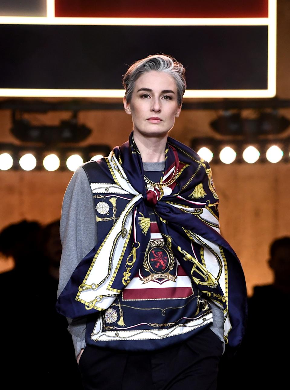 Erin O'Connor walks the runway at the Tommy Hilfiger show during London Fashion Week. (Getty Images)
