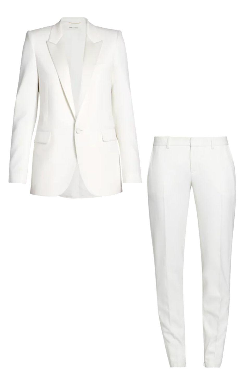 """<p>This stunning take on a classic """"wedding white"""" features incredibly soft silk with a bit of satin shine. The tapered pants are flattering and let you show off a favorite pair of heels. </p><p><a href=""""https://go.skimresources.com?id=74968X1525087&xs=1&url=https%3A%2F%2Fwww.saksfifthavenue.com%2Fsaint-laurent-wool-skinny-pants%2Fproduct%2F0400012804410%3FclickType%3DPRODUCT_RECOMMENDATIONS"""" rel=""""nofollow noopener"""" target=""""_blank"""" data-ylk=""""slk:Saint Laurent Blazer"""" class=""""link rapid-noclick-resp""""><br>Saint Laurent Blazer</a><a href=""""https://go.skimresources.com?id=74968X1525087&xs=1&url=https%3A%2F%2Fwww.saksfifthavenue.com%2Fsaint-laurent-single-button-wool-jacket%2Fproduct%2F0400012804234%3FFOLDER%253C%253Efolder_id%3D2534374306646244%26R%3D190617553201%26P_name%3DSaint%2BLaurent%26N%3D306646244%2B4294929615%2B4294929614%2B4294929610%2B4294929600%2B4294929616%26bmUID%3DniiK_MZ"""" rel=""""nofollow noopener"""" target=""""_blank"""" data-ylk=""""slk:Saint Laurent Pant"""" class=""""link rapid-noclick-resp""""><br>Saint Laurent Pant</a></p>"""