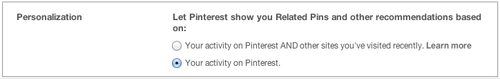 Pinterest Personalization section