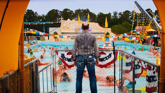 """This film image released by The Weinstein Company shows David Koechner in a scene from """"Piranha 3DD."""" (AP Photo/The Weinstein Company)"""