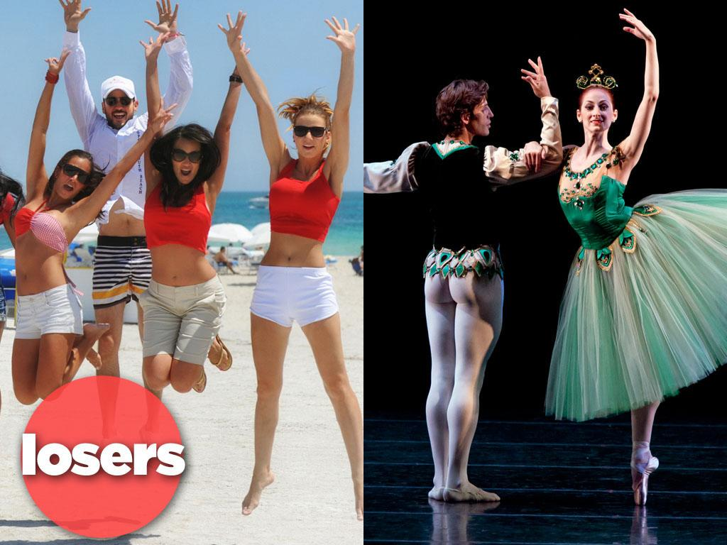 "<b>LOSERS: ""The Catalina""/""Breaking Pointe"" (The CW) </b><br><br>With ratings like these, we're on the verge of demoting The CW down to basic cable. The netlet's two new reality offerings for the summer -- beach-resort soap ""The Catalina"" and dance-world drama ""Breaking Pointe"" -- might as well be test patterns, with both attracting less than a million viewers last week. (Heck, even Bristol Palin could outdraw these folks.) Memo to Hollywood: Maybe scripts aren't such a bad thing after all?"