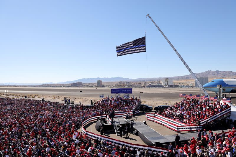 U.S. President Donald Trump holds a campaign rally at Laughlin/Bullhead International Airport in Arizona